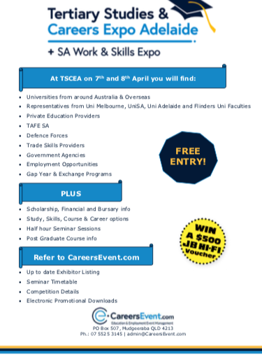 Tertiary Studies and Careers Expo, Adelaide newsletter